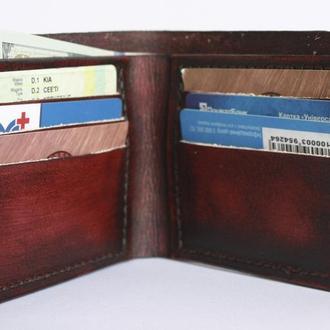Бумажник кожаный (10 цветов), кожаный кошелёк, кожаное портмоне, мужской бумажник, бумажник из кожи.