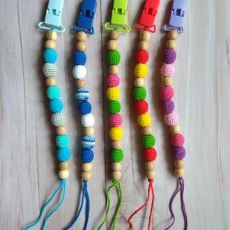 Вязаный держатель для пустышки соски грызунка прорезыватель грызунок деревянный подарок малышу