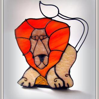 Свічник вітраж Лев