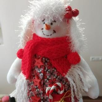 Снеговик игрушка текстильная