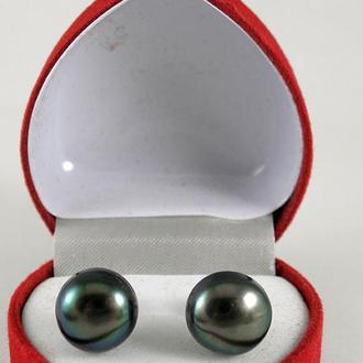Серьги, крупный натуральный чёрный жемчуг 11 мм, серебро