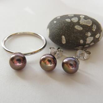 Серьги,серебро и натуральный пресноводный чёрный жемчуг с ярким пурпурным обертоном