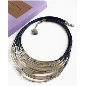 Серое колье на вощеной нити с трубочкам Lilei Jewelry