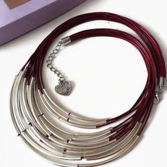 Колье бордовое на вощеной нити с трубочками Lilei Jewelry