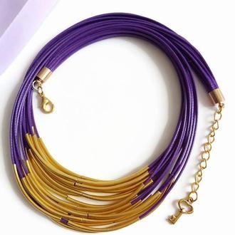 Фиолетовое украшение колье на вощеной нити с трубочками Lilei Jewelry