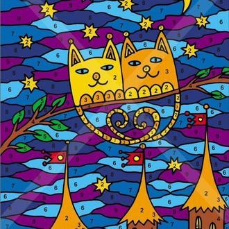 Живопись по номерам. Схема фантастической картины с котами. Создайте свою картину!