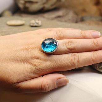 Кольцо голубое Подарок девушке Яркое летнее кольцо