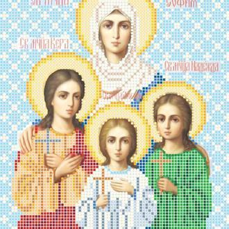 """Схема для вишивки бісером ікони """"Свята мучениця Віра, Надія, Любов та мати їх Софія"""""""
