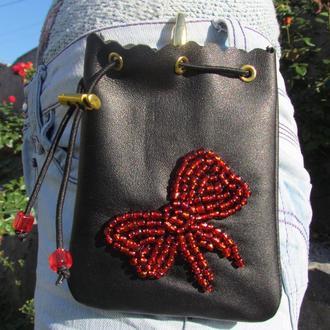 Кожаная сумка для лакомств
