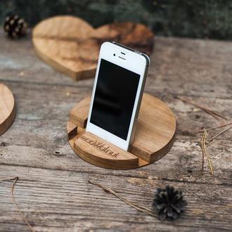 Деревянная Подставка Органайзер Для Гаджета Телефона Смартфона Планшета Из Дерева На рабочий Стол