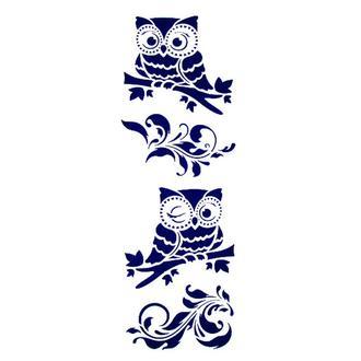Трафарет декоративный 11х33 см Совы