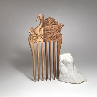 Гребень деревянный для волос Лебедь