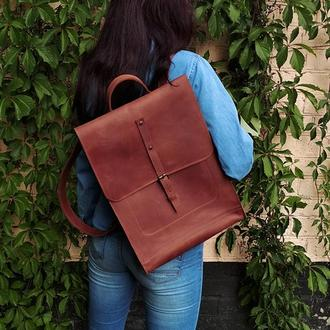 Кожаный коричневый большой рюкзак