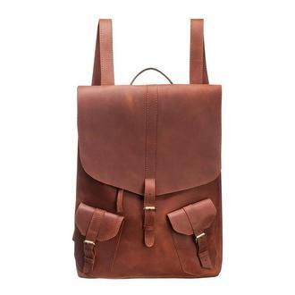 Большой коричневый кожаный мужской рюкзак