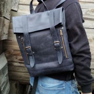Синий большой кожаный унисекс рюкзак
