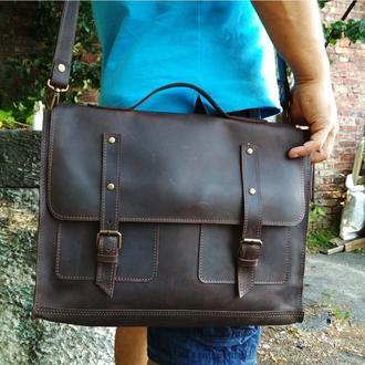 Мужская коричневая кожаная сумка месенджер