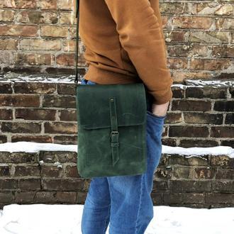 Зеленая кожаная мужская сумка через плечо