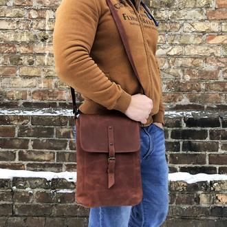 Коричневая кожаная мужская сумка через плечо