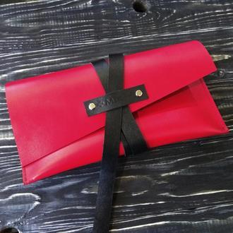 Красный кожаный женский клатч сумка