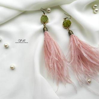 """Серьги """" Розовый фламинго """""""