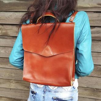 Коричневый кожаный женский рюкзак сумка
