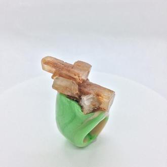 Кольцо ручной работы, натуральный необработанный камень, арагонит, Украина