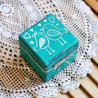 Коробка для колец птички 8х8х8