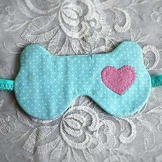 маска для сна с сердечком ушки мятный