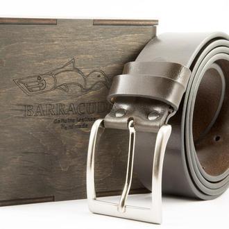 Крафтовый коричневый кожаный итальянский ремень под джинсы, шорты шириной 4 см.