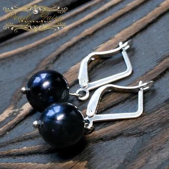 Сережки з натуральних перлів високого класу у сріблі 925 проби