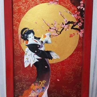"""Картина в японском стиле""""Гейша"""""""
