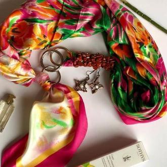 """""""Тропикано"""" атласный шарф, атласный платок, шелковый шарф, шарф-ожерелье, шарф-чокер, шейный платок"""