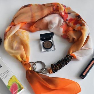 """""""Солнечный десерт"""" шелковый шарф, шелковый платок, шарф-ожерелье, шарф-чокер"""