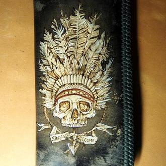Кожаный кошелек Череп указатель ( Blt30)
