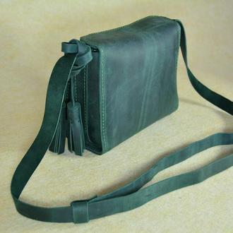 """Кожаная маленькая сумочка через плечо зелёная """"Коробочка"""""""