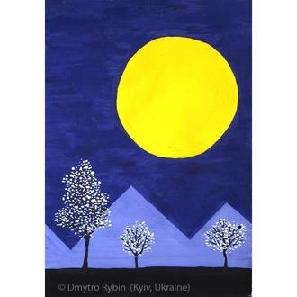 Видеоурок. Ночной пейзаж с луной за 20 минут! Живопись для начинающих с нуля. Гуашь, акрил.