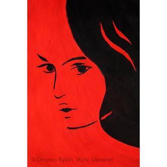 Видеоурок живописи для начинащих. Стилизованный женский портрет за 20 минут. Акрил или гуашь