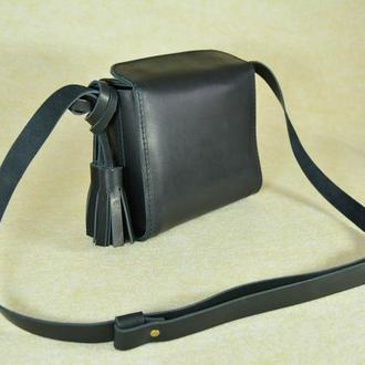 """Кожаная маленькая сумочка через плечо чёрная """"Коробочка"""""""