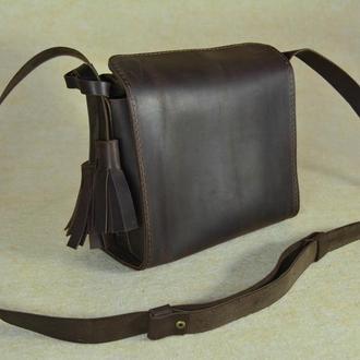 """Кожаная маленькая сумочка через плечо коричневая """"Коробочка"""""""