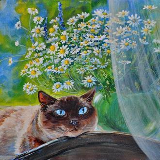 """картина """"Кот и ромашки"""", холст, акрил"""