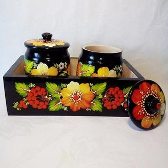 Набір кухонний(бочечки для сипучих в коробі)