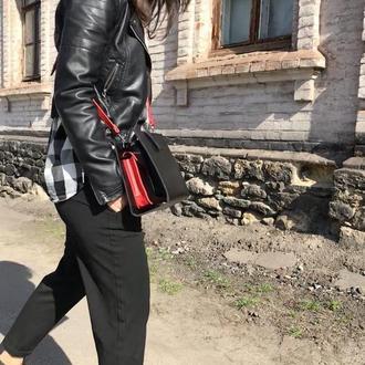 Стильная кожаная сумка (чёрная, красная) ХИТ 2019