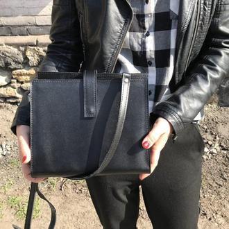 Стильная сумка из натуральной кожи (чёрная)