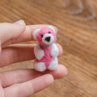 Розовый мишка валяная игрушка - Игрушки в технике валяния из шерсти - Ручная работа