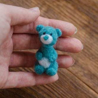 Бирюзовый голубой мишка миниатюрная валяная игрушка - Игрушки в технике валяния из шерсти