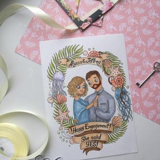 Открытка на помолвку\свадьбу для счастливой парочки ;)