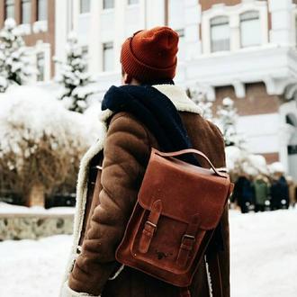 """Кожаный рюкзак """"Форест"""" в коньячном цвете"""