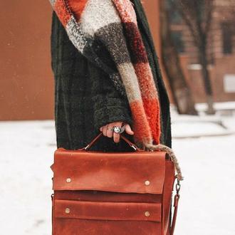 """Кожаная сумка """"Джезабель""""""""  в красном цвете"""