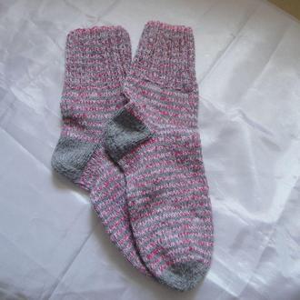 Носки полосатые вязаные ручная работа 19см