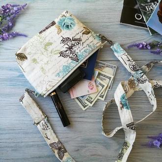 Сумочка-косметичка Бирюзовые бабочки